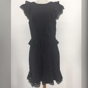 Joie Acostas Ruffle & Lace Dress Solid Black